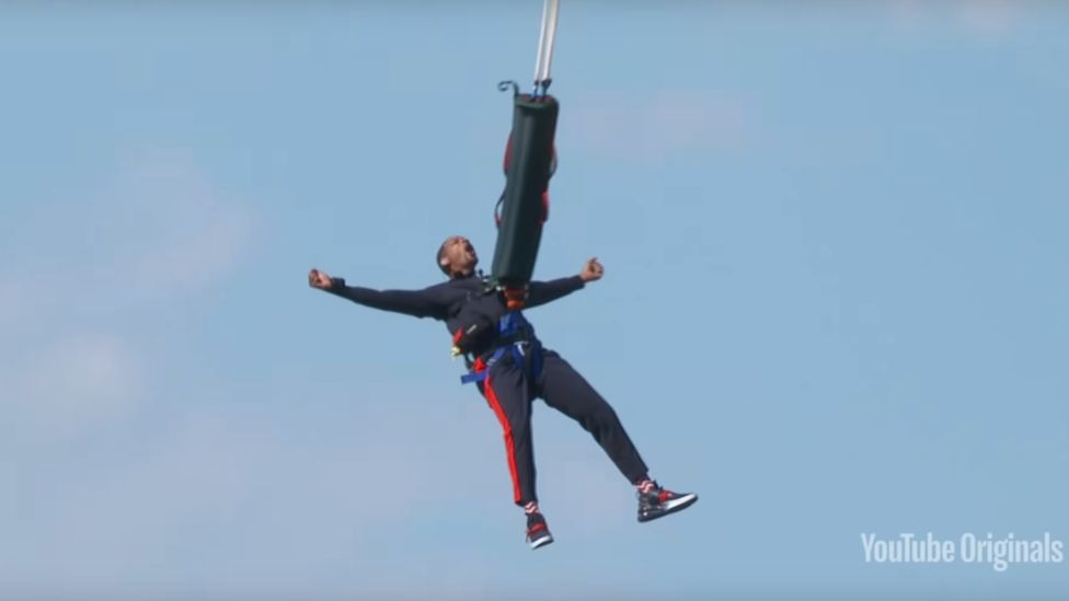 Will Smith doing a bungee jump