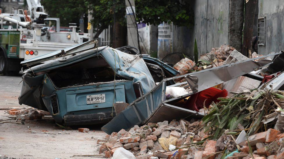 View of a street at the eastern area of Mexico City after a 8,2 earthquake on September 8, 2017.