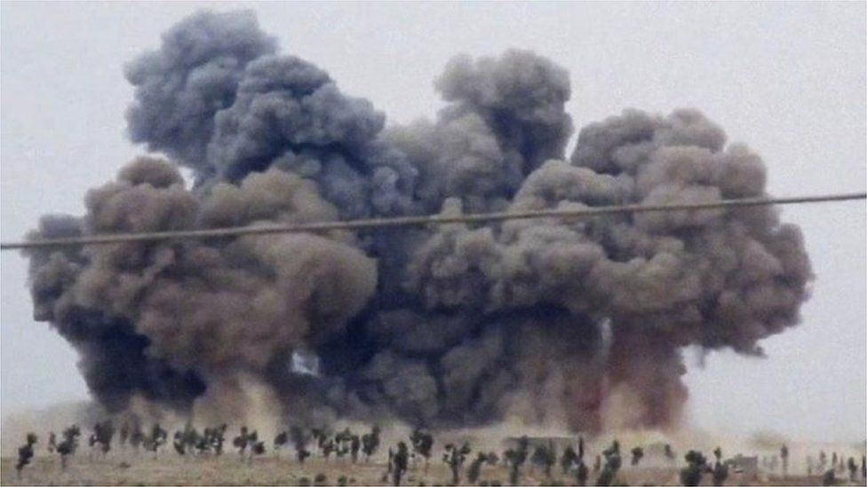 Smoke rises in the town of Kafranbel, Idlib province, after what activists said was a Russian air strike. Photo: 1 October 2015