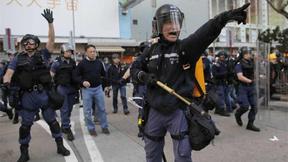 Riot police in Mong Kok
