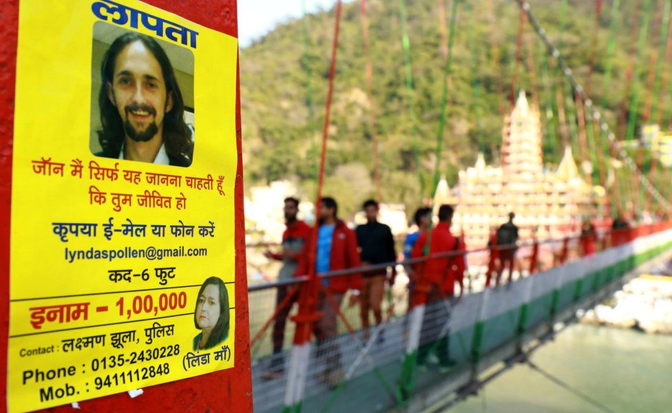 Poster appealing to find Jonathan Spollen in Rishikesh - January 2017