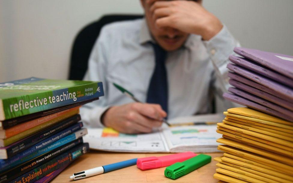 Teacher studying