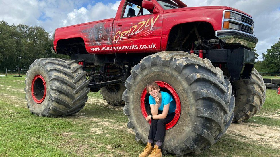 Laura on a monster truck