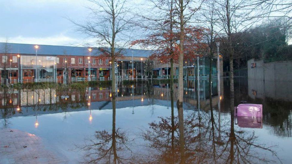 Flood water damaged 31 units of the Linen Green shopping complex near Dungannon, County Tyrone, at the weekend