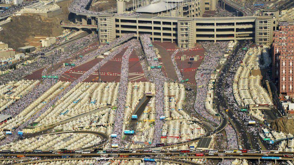 An aerial shot of the Hajj pilgrimage in Saudi Arabia