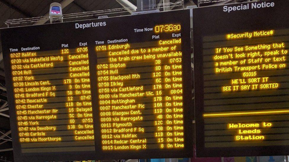 Departures board at Leeds