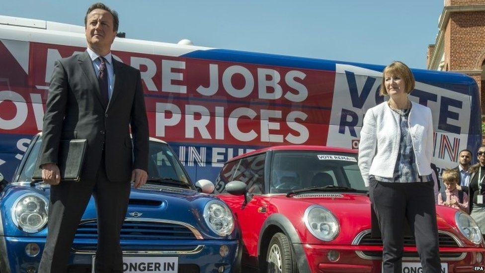 David Cameron appearing alongside Harriet Harman at a Remain rally