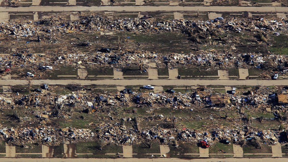 The aftermath of a tornado in Moore, Oklahoma in May 2013