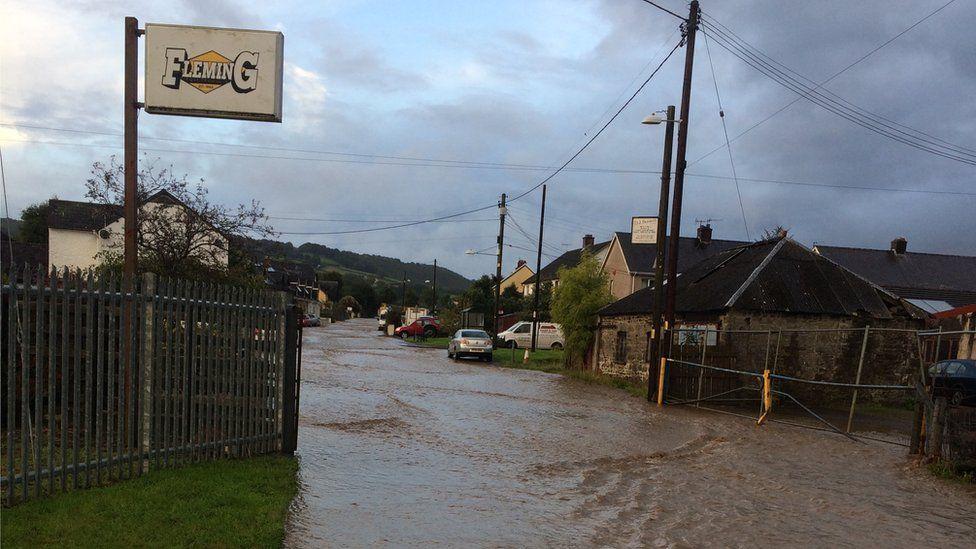 Flooding in Talsarn, Ceredigion