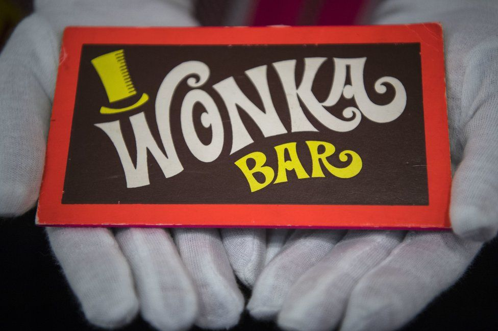 A Wonka bar from Willy Wonka and the Chocolate Factory (1997) at the Prop Store film memorabilia exhibition.