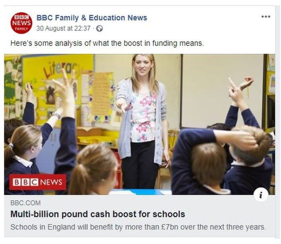 BBC Facebook post on schools spending