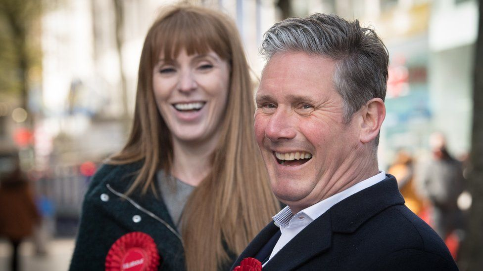 Angela Rayner and Sir Keir Starmer on smiling on the campaign trail