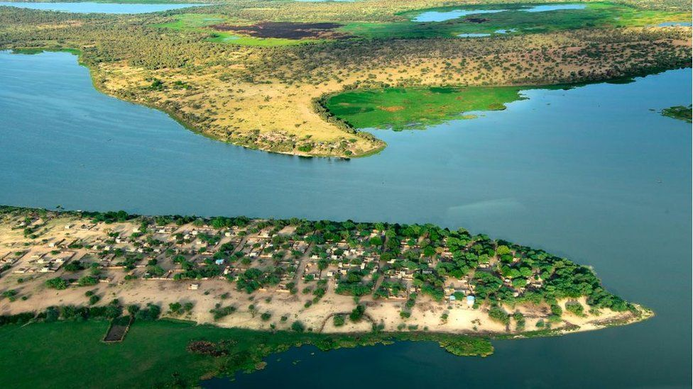 This aerial picture taken on July 16, 2016 shows the Lake Chad in the Bol region
