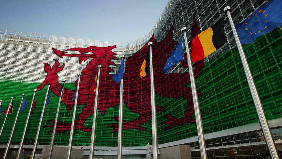 Welsh flag on European building