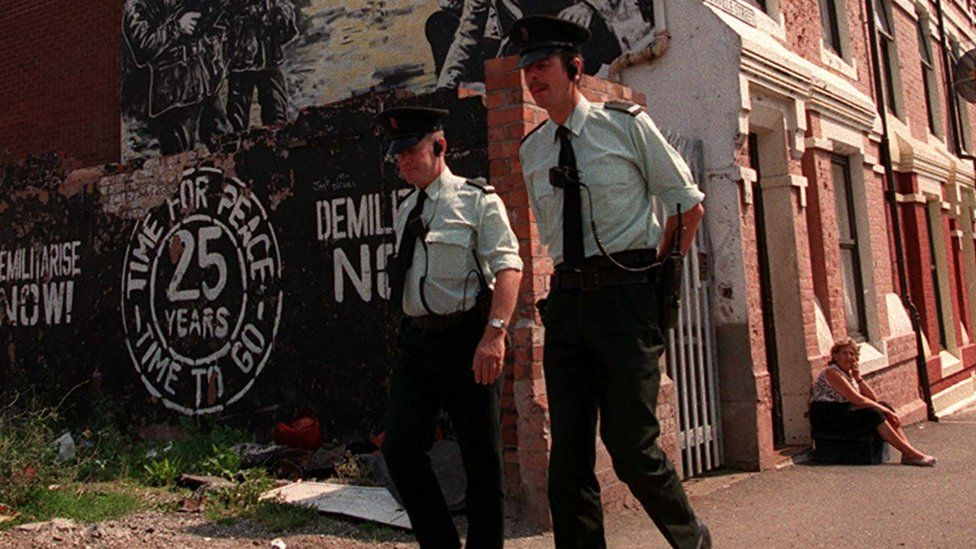 RUC officers on patrol in west Belfast