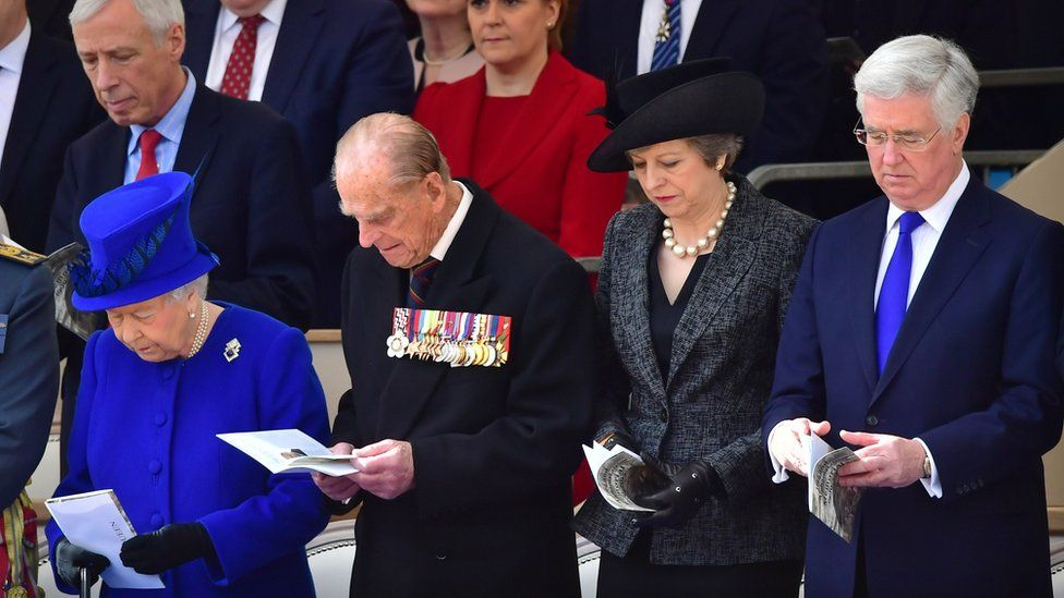 The Queen, Prince Philip, Theresa May and Michael Fallon