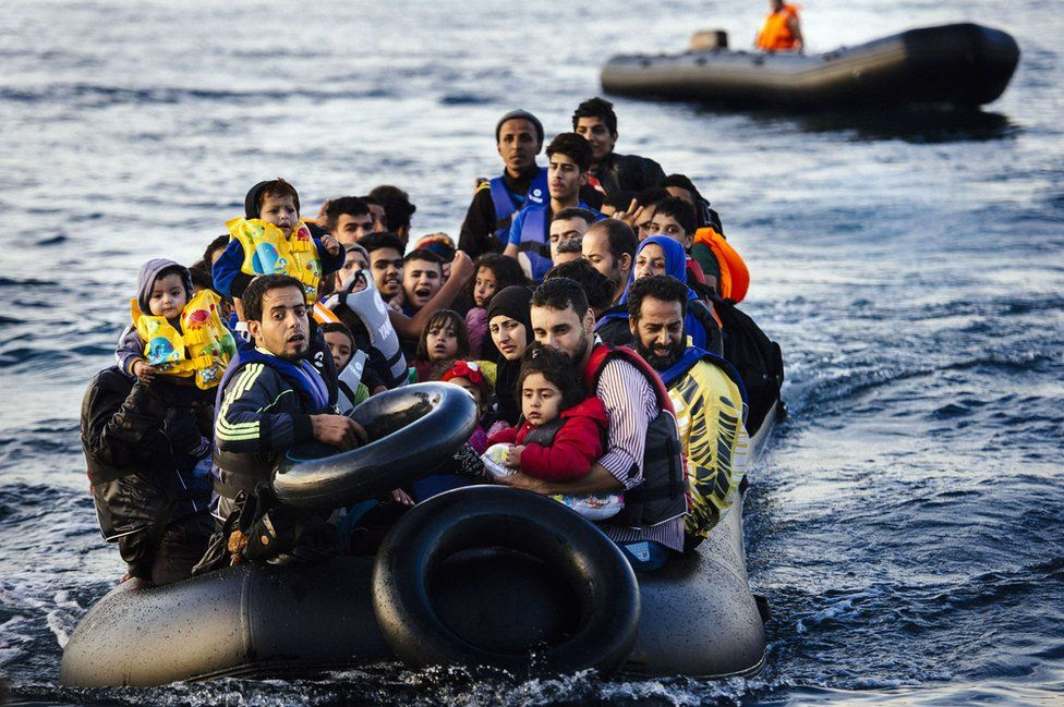 Migrants arriving in Lesbos, Greece, 14 Oct 15