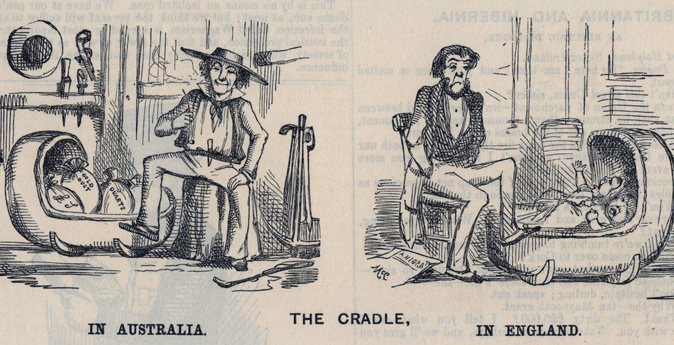 Cradling in Australia and in England, 1852 Australian Gold Rush, 1852: Cradling in Australia and in England. Cartoon from ''Punch''. (Photo by: Universal History Archive/UIG via Getty Images)