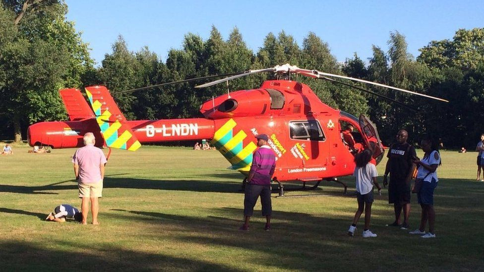 A air ambulance landed on Wandsworth Common