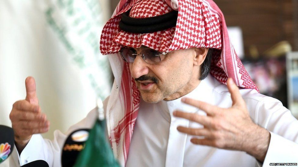 Prince Alwaleed bin Talal speaks to reporters in Riyadh, Saudi Arabia