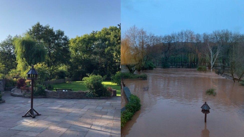 Sarah Bridge's garden before and after flooding.