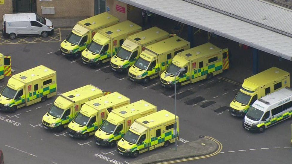 Ambulances outside Queen's Hospital in Romford, Essex