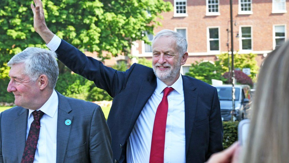 Jeremy Corbyn arrives at Queen's University