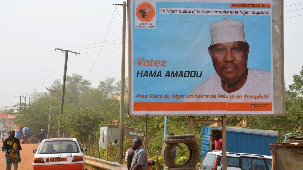 A campaign poster for Hama Amadou
