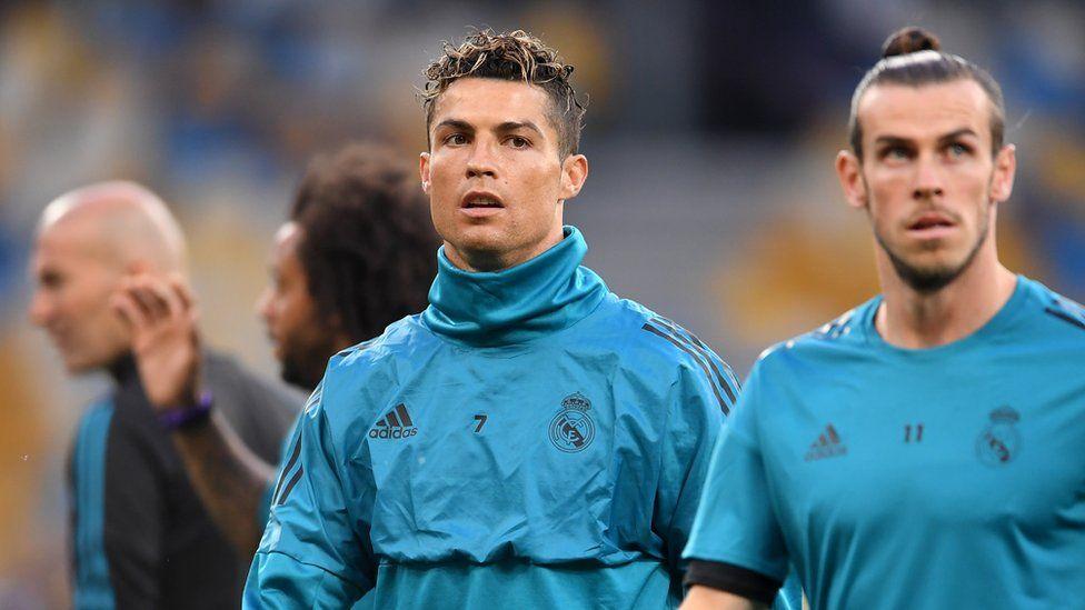 Zinedine Zidane, Cristiano Ronaldo and Gareth Bale of Real Madrid