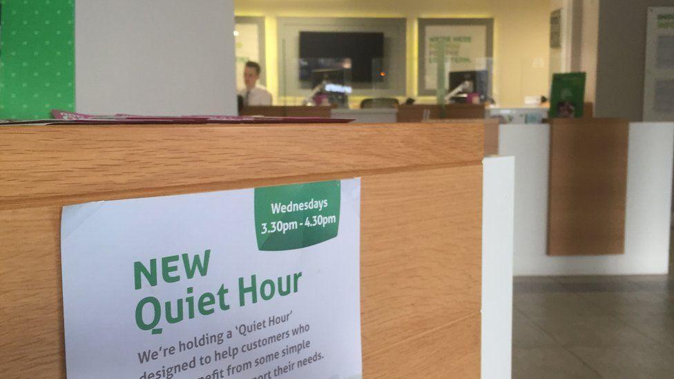 Quiet hour sign at YBS branch in Leeds
