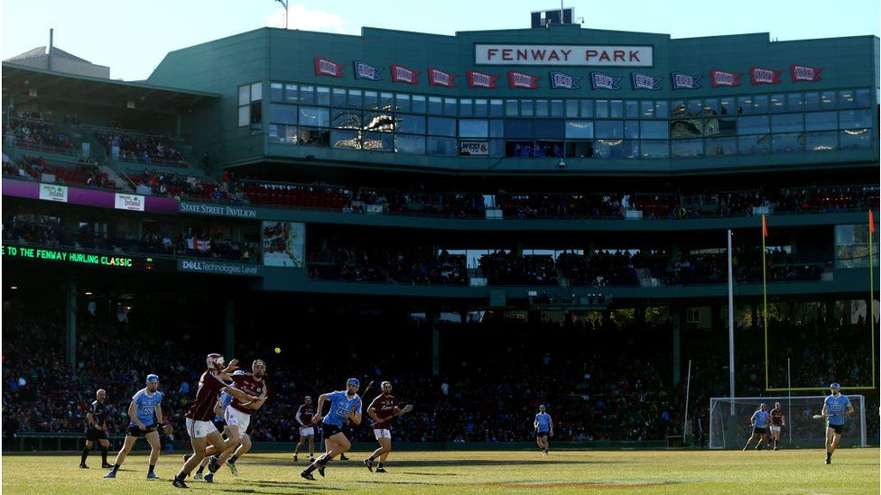 A view of the match between Dublin and Galway during the 2017 AIG Fenway Hurling Classic and Irish Festival at Fenway Park in 2017 in Boston