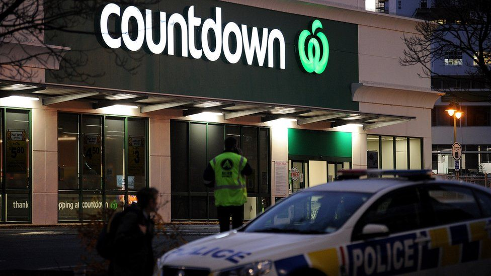 A police car is observed blocking an entrance to the Dunedin Central Countdown on May 10, 2021 in Dunedin, New Zealand.