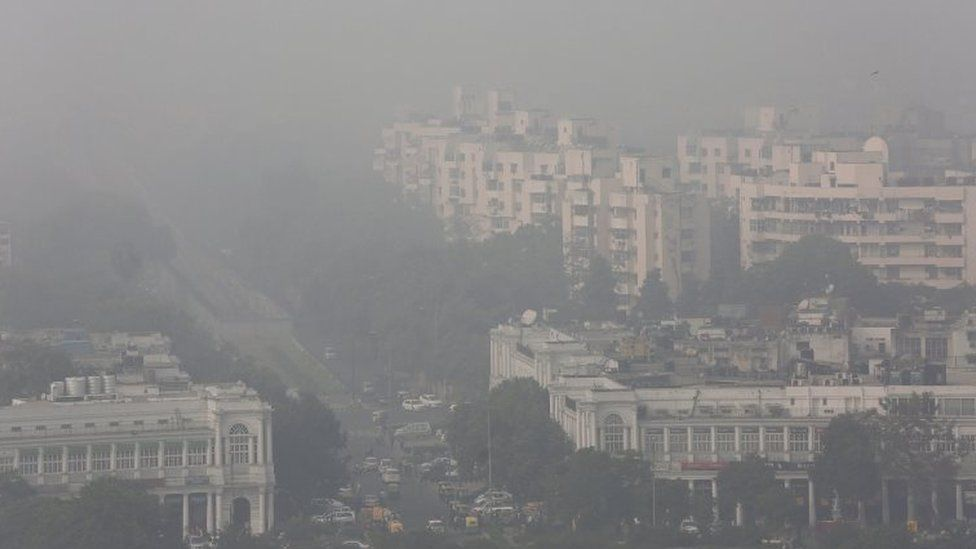 An aerial view of the Connaught Place area of New Delhi, India, as it is surrounded by smog on 08 December 2015.