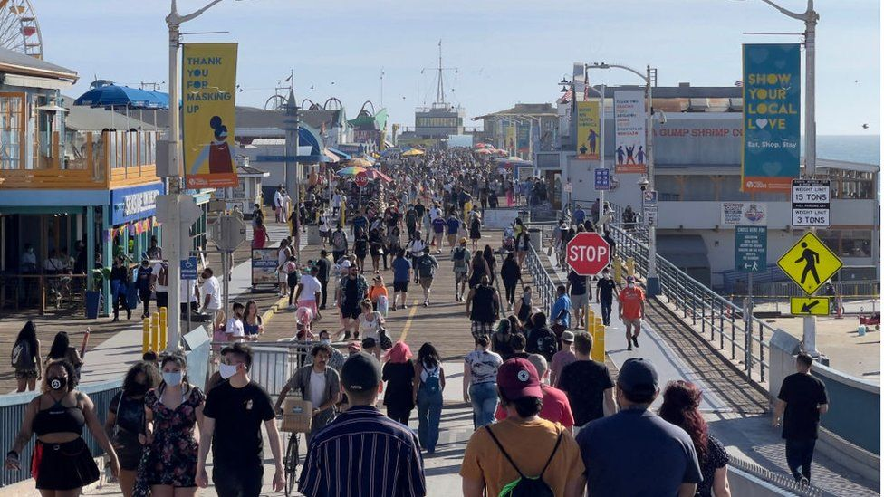 LA's Santa Monica Pier, pictured in April 2021