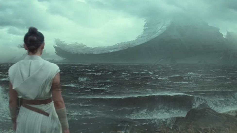 The wreckage of a Death Star in Rise of the Skywalker