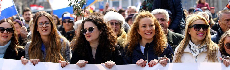 People protest against the ratification of the Istanbul Convention in Zagreb, Croatia, on Saturday