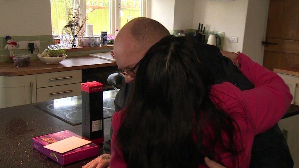 Priti Patel greets Harry's father Tim Dunn
