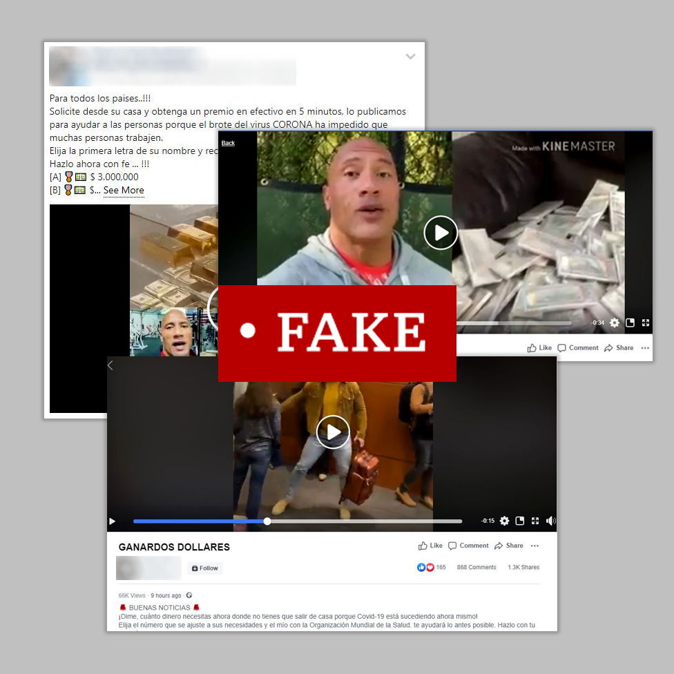 """Three screenshots of Facebook posts including videos of actor Dwayne Johnson offering cash prizes. Labelled """"fake"""""""