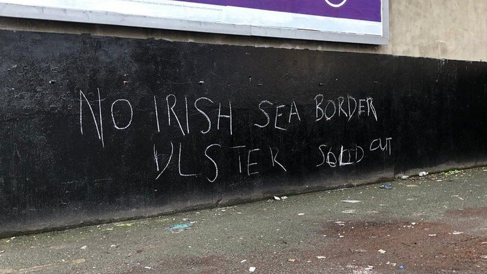Anti-Irish Sea border graffiti in Belfast