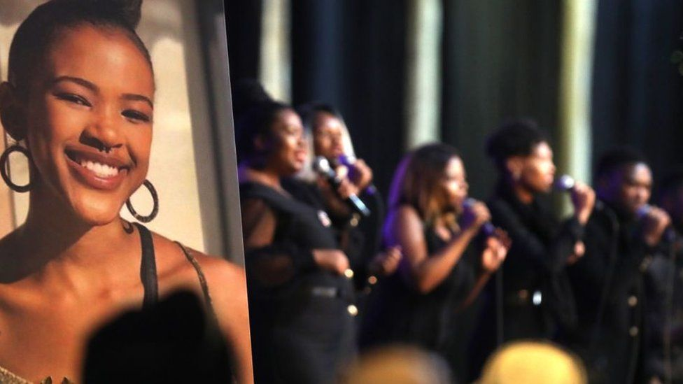 A choir performs during the funeral service of murdered University of Cape Town (UCT) student, 19-year-old Uyinene Mrwetyana