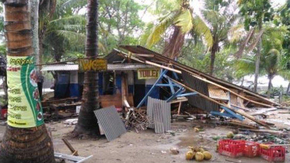 Rudi Herdiansyah's stall, devastated by the tsunami
