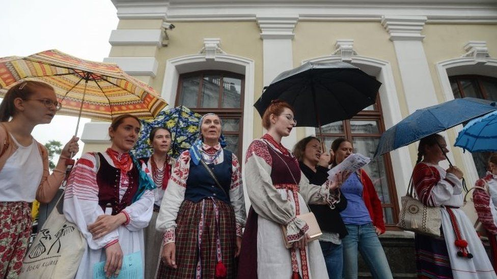 Actors of the Kuplovsky theatre and friends attend a rally to support their strike as a protest against the discharge of theatre director Pavel Latushko in Minsk, Belarus, 19 August 2020.