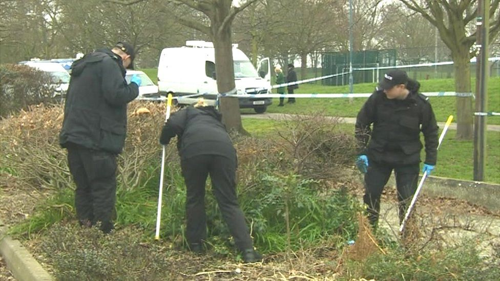 Police officers searching Stamshaw Park