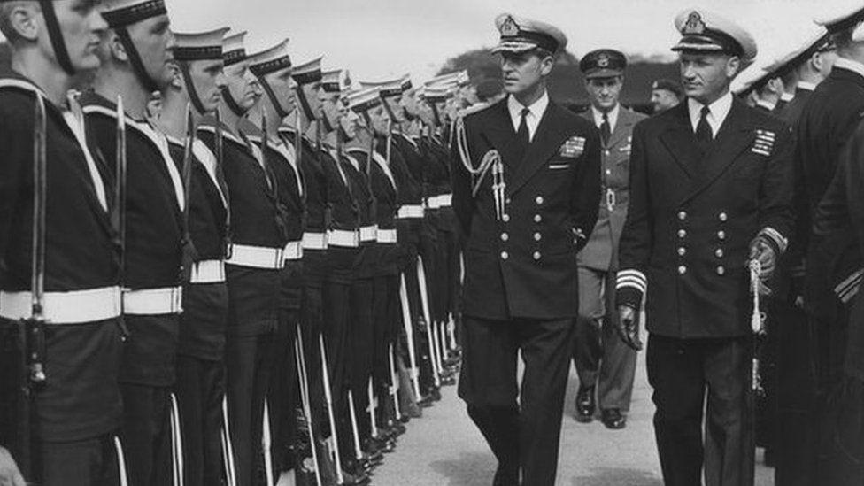 The Duke of Edinburgh inspecting Canadian Sailors at Pirbright, 1953