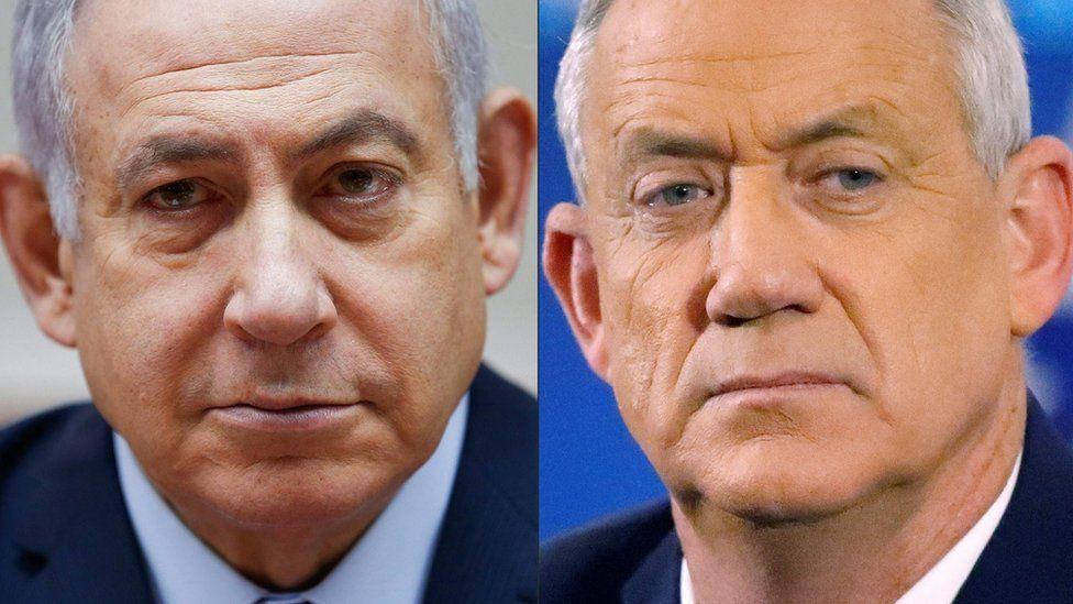 File photos of Benjamin Netanyahu (left) and Benny Gantz (right)