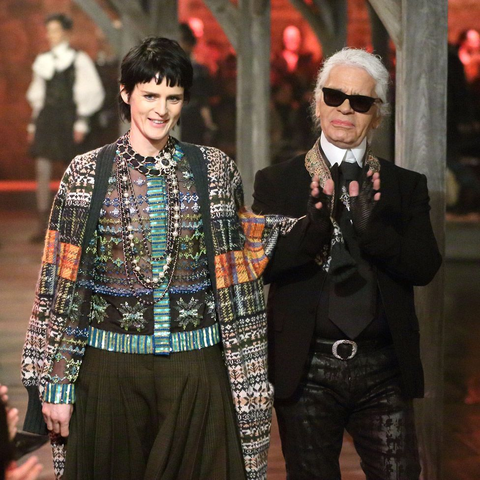 Stella Tennant and Karl Lagerfeld walk the runway at the Chanel: Metiers d'Art fashion show at Linlithgow Palace on 4 December, 2012 in Linlithgow, Scotland