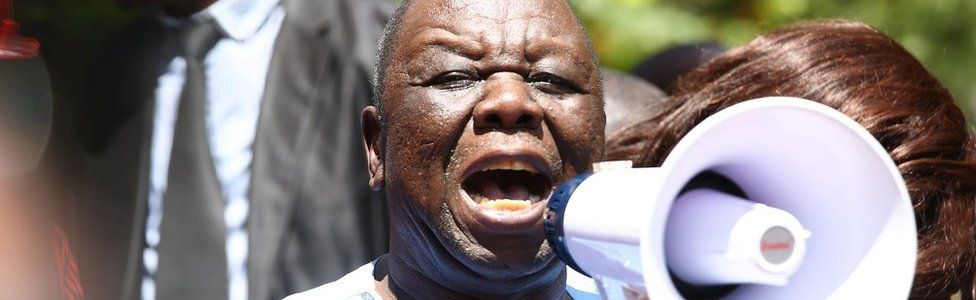 Leader of the opposition party Movement for Democratic Change (MDC-T), Morgan Tsvangirai, speaks to supporters during a protest against poverty and corruption, in Harare, Zimbabwe, 14 April 2016