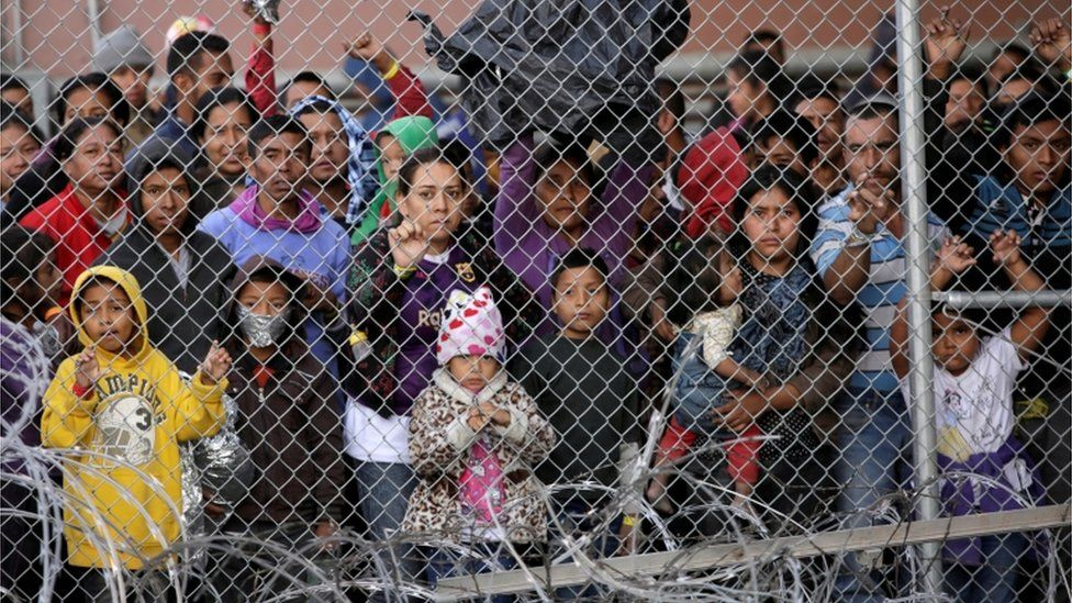 Central American migrants are seen inside an enclosure where they are being held by U.S. Customs and Border Protection (CBP), after crossing the border between Mexico and the United States illegaly and turning themselves in to request asylum, in El Paso, Texas