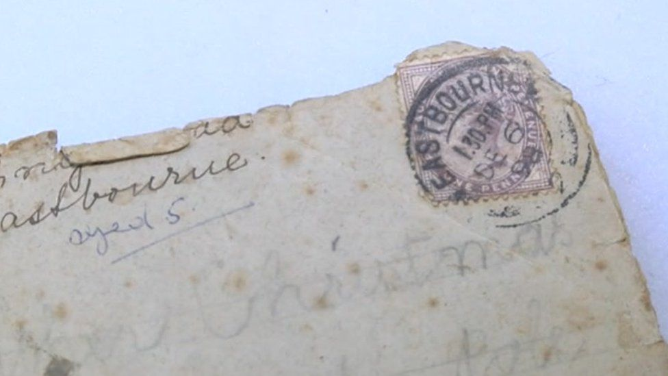 The envelope of a letter sent to Santa in 1898
