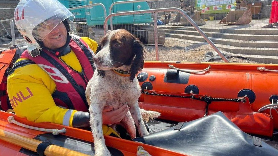 Ollie with a member of the rescue team